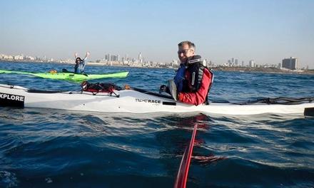 ביהס לחתירה בקיאקים ימיים, לב הים: שיעור ניסיון בן שעה בחתירת קיאק רק ב 35 ₪