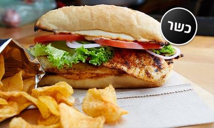 מסעדת עולם האוכל: רק 25 ₪ ליחיד או 49 ₪ לזוג לארוחת באגט עם בשר לבחירה, ציפס ושתייה! גם בשישי